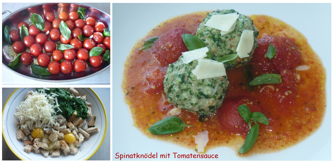 Spinatknödel mit Tomatensauce