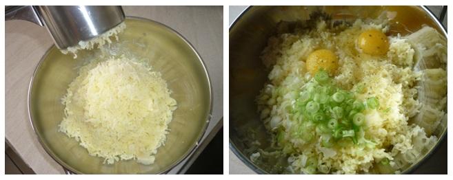 Kartoffel und Petersilienwurzeln werden gepresst