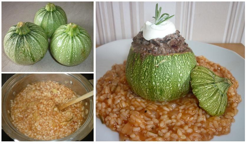 runde gefüllte Zucchini auf Risotto