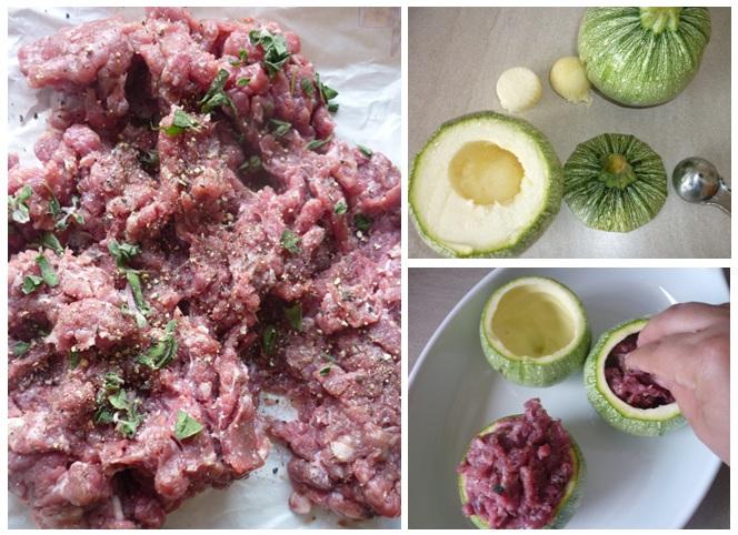 Zubereitung der gefüllten Zucchini