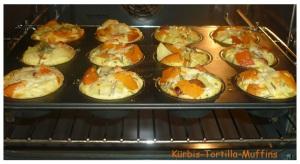 fertige Tortilla mit Kürbis frisch aus dem Ofen